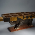 Asante polychrome two headed crocodile and elephant Mancala