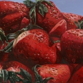 """Strawberries Farmers' Market"" 22 x 48 inches. oil on linen"