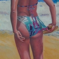 """Beach Paddle Player"" 50 x 24 inches. oil on board"