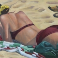 Beach Writer 34 x 50 inches. oil on linen