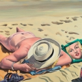 """Marilyn Monroe at the Beach"" 28 x 32 inches oil on linenMARILYN_AT_THE_BEACH_NEW_WP"