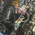 """""""Jackson Pollack Wall in Soho"""" 34x50 inches. oil on linen"""