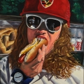 """""""Central Park Hot Dog"""" 36 x 30 inches. oil on linen"""