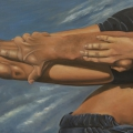 """Pilobolus Z Legs"" 24 x 48 inches. oil on linen on board"