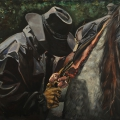 """Cowboy in the Rain"" 34 x 50 inches. oil on canvas"