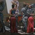 """Rehearsal at Chapura Studios"" II 34 x 48 inches. oil on linen"