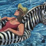 woman on a zebra float